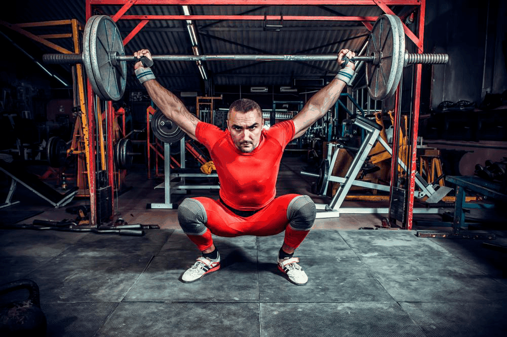 powerlifter wearing weightlifting shoes