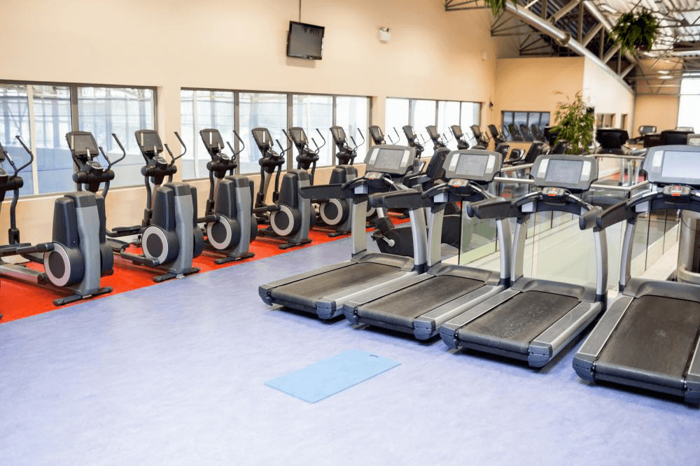 Collection of treadmills in gym