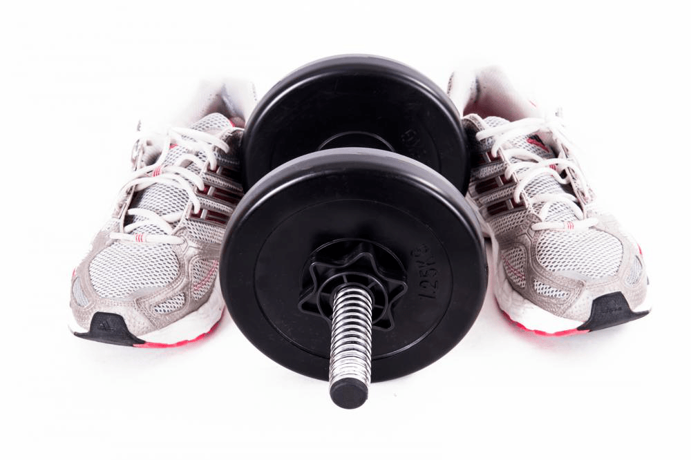 weightlifting shoes and bar bell