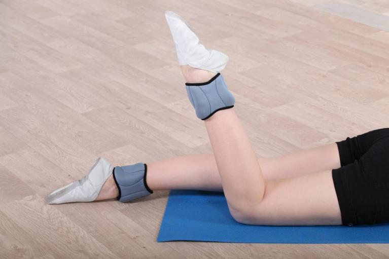 woman wearing ankle weights