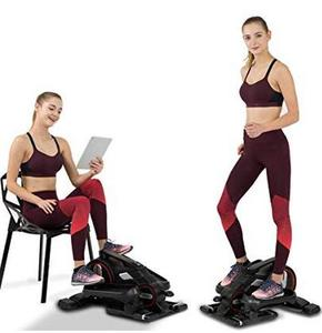 A young woman exercising on an under-desk elliptical
